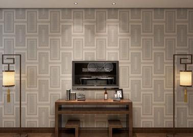 Wasserdichte weiße graue zeitgenössische Tapete mit Cremig Weiß Kariert-Muster