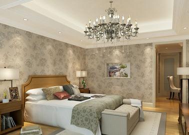 Moderne Tapeten beige Blumenmuster PVCs für Schlafzimmer mit prägeartiger Oberfläche