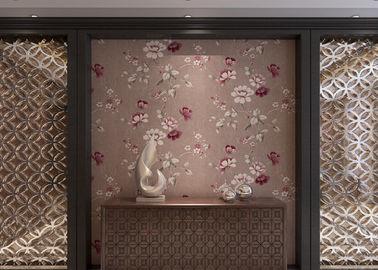 Luxuskaffee-Farbland-Vinyltapete mit Blumenmuster für Wohnzimmer