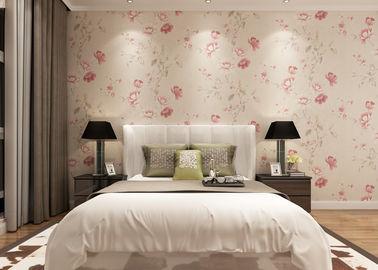 Umweltfreundlich Hellrosa Land Blumen Tapete,Betten-Zimmer Vinyl Wandverkleidungen
