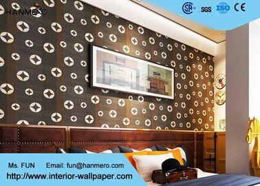 Modernes entfernbares Tapeten-Wohnzimmer-gestreifte Tapete Schwarzkupfer-Muster PVCs