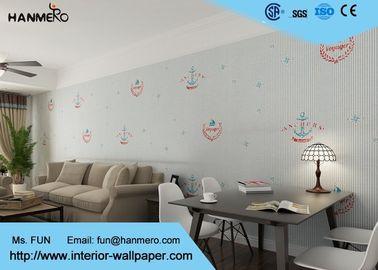 Weißes Karikatur-Streifen-Muster-nicht- gesponnene Kindertapete für Wände
