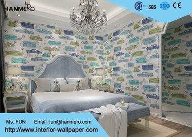 Beige der Karikatur-Muster-nicht- gesponnene Kinderschlafzimmer-Tapeten-0.53*10m