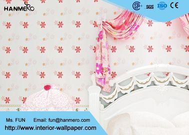Nicht- Kleber scherzt Schlafzimmer-Tapete mit roter Blume, Mädchen-rosa Tapete