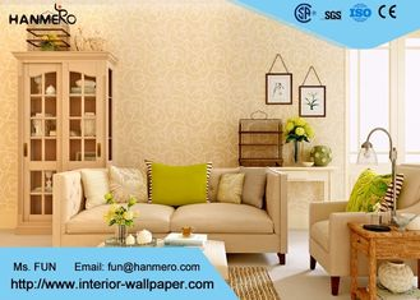 Scharen der modernen entfernbaren Tapete für Wohnzimmer mit warmem beige Blumen