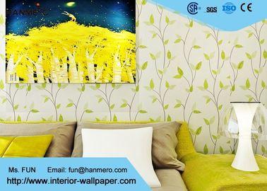 Verlässt asiatische Tapete Art des Hotel-Schlafzimmers, die mit weißem Grün Breathable ist, Muster