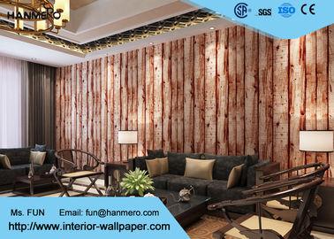 Brown-Holzstich-Muster-moderne entfernbare Tapete für Wohnzimmer, PVC-Materialien