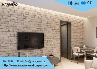 Entfernbare Ziegelstein-Effekt-Tapete der chinesischen Art-3D mit weißer grauer Farbe, CSA-Standard