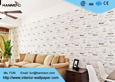Weißes Boots-Muster-moderne entfernbare Tapete, Luxus nicht gesponnener Wallcovering