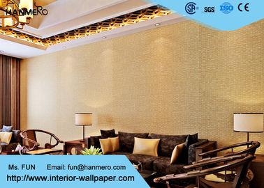 Gelbes Leinenmuster-moderne entfernbare Tapete/waschbarer nicht gesponnener Wallcovering