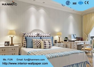 Weißes und blaues Wohnzimmer-gestreifte Tapete Strippable, Mittelmeerart