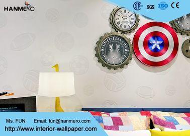 Prägeartige Ball-Muster-nicht gesponnene Kinderschlafzimmer-Tapeten-Weiß-Farbe