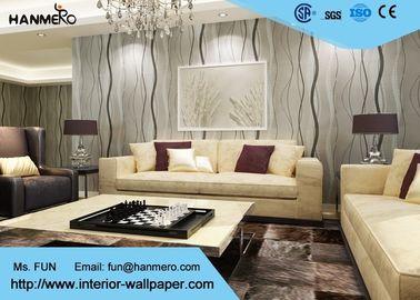 Kurven-Linie Entwurfs-graue moderne entfernbare Tapete für Fernsehhintergrund 0.53*10M