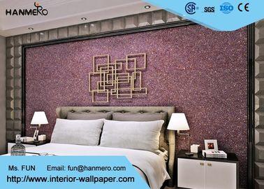 Purpurrote zeitgenössische Glimmer-Stein-Tapete, Innenverzierungstapete für Schlafzimmer