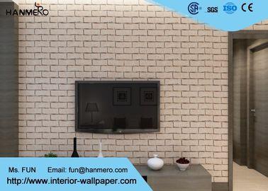Kakifarbige Ziegelstein-Effekt-Tapete der Farbe3d entfernbar für Wohnzimmer, Vinylmaterial