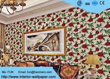 Rot-nicht gesponnene Weinlese-Art-Blumentapete für Raum-Dekoration, umweltfreundlich
