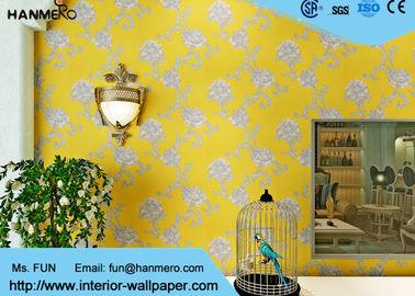 Moderne gelbe Farbnicht gesponnene Tapete waschbar für Wohnzimmer, Größe besonders angefertigt