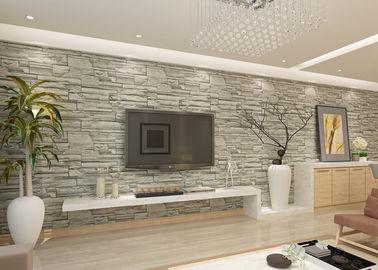Stilvolle entfernbare Faux-Ziegelstein-Tapete für Wohnzimmer, graues Steinmuster