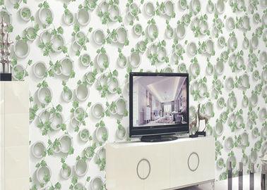 Grünpflanzen und rundes Muster 3D prägten Tapeten-Oberflächenbehandlung