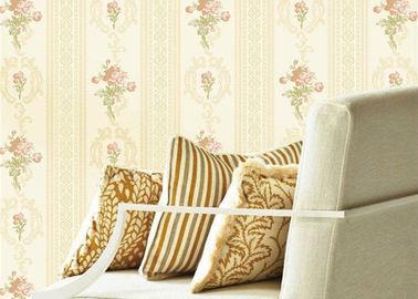 Kurze europäische Blumen-Strippable Wohnzimmer-Tapete mit Vertikale gestreift