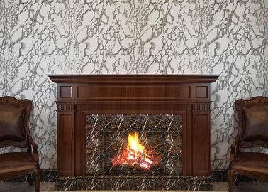 PVC-Strippable Fernsehhintergrund-Tapete, grauliche weiße Marmorwandverkleidung
