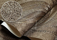 Home Furnishing Washable Vinyl Wallpaper Embossed Brown Leaf Pattern