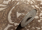 Classic Style Embossed Washable Vinyl Wallpaper with Chocolate color , CE ISO Compliant