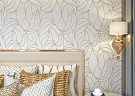 White Modern Wall Covering Non Woven Wallpaper Sound Absorbing With Geometric Pattern