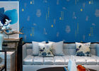 Blue Carton Chinese Style Non Woven Wallcovering Soundproof For Living Room / Bedroom