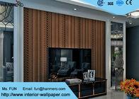 China Schalldämpfendes zeitgenössisches Wand-Papier Browns mit dem Streifen-Muster, Oberflächenbehandlung scharend usine