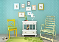 Cadmium Green 3D Home Wallpaper / Childrens Bedroom Wallpaper with Simple Style