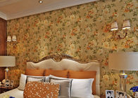 Removable Strippable Country Style Wallpaper , Deep Embossed PVC Flower Wall Covering