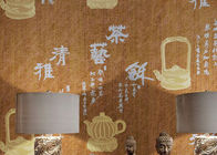 Chinese Style Asian Inspired Wallpaper , Wet Embossed Dining Room Wallpaper