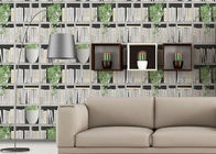 Green Plants And Books Printing 3D Home Wallpaper  Modern Concise Style For Coffee Shop