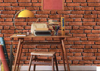 Vintage Removable 3D Brick Effect Wallpaper , Foam Faux Brick Wall Covering Washable