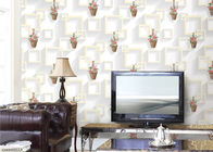 3D Moisture-Proof Non-Woven Home Wallpaper With Basket Of Flowers And Square Printings