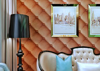 European Style Washable Vinyl Wallpaper with 3D Effect Leather Pattern , SAC Listed