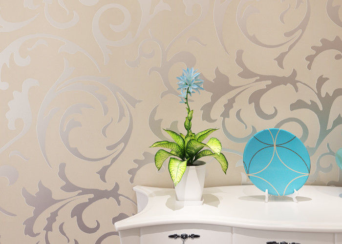 Removable Creamy White Embossed Wallcovering Leaf Pattern for Living Room