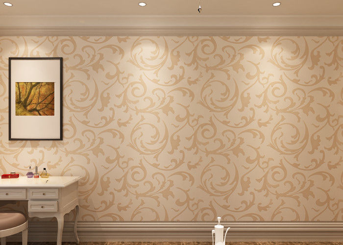 Eco-friendly Non-woven Interior Wallpaper , European Style Leaf Pattern Wallpaper