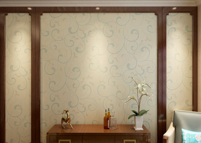 Embossed Vinyl Interior Decorating Wallpaper , Silver and Green Contemporary Wallpaper