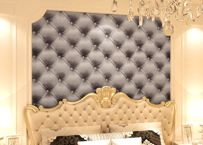 3D Effect European Style Black and White Leather Pattern Wallpaper