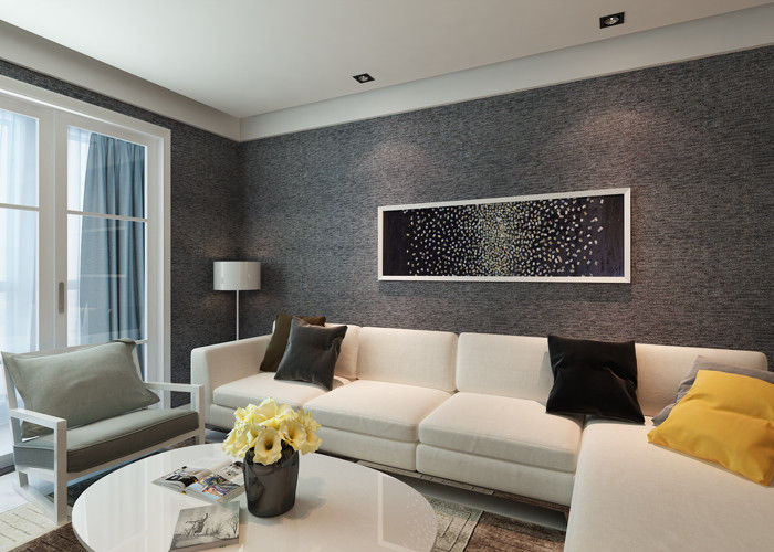 House Decoration Removable Vinyl Black Embossed Wallpaper for Bedrooms