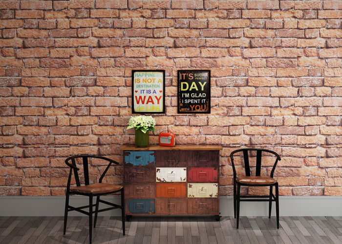 White and Red Brick Wallpaper for Walls / Non woven Brick Embossed Wallpaper ISO
