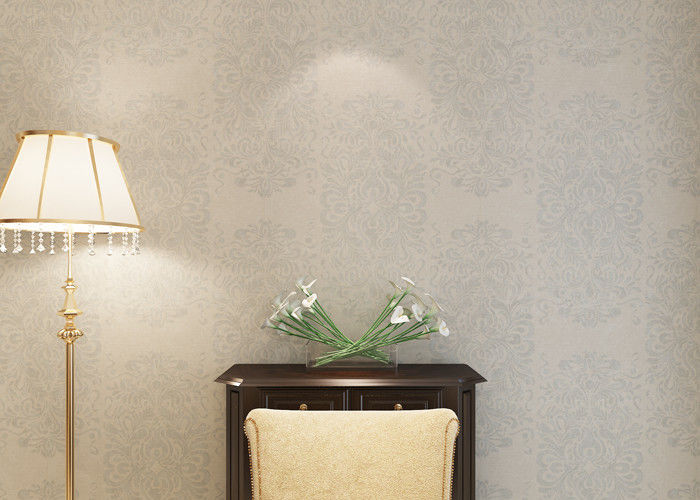 Creamy White Floral Pattern Removable Wall Coverings , Bedroom Decoration Wallpaper