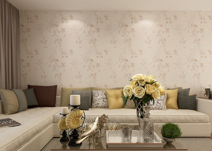 Vinyl Rustic Floral Wallpaper with Light Pink color for Living Room