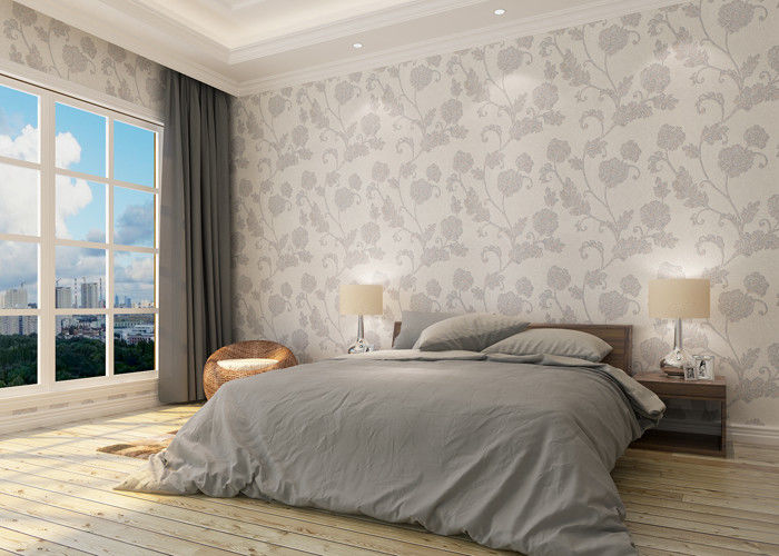 Waterproof Vinyl Country Style Wallpaper with Floral Pattern for Bedroom
