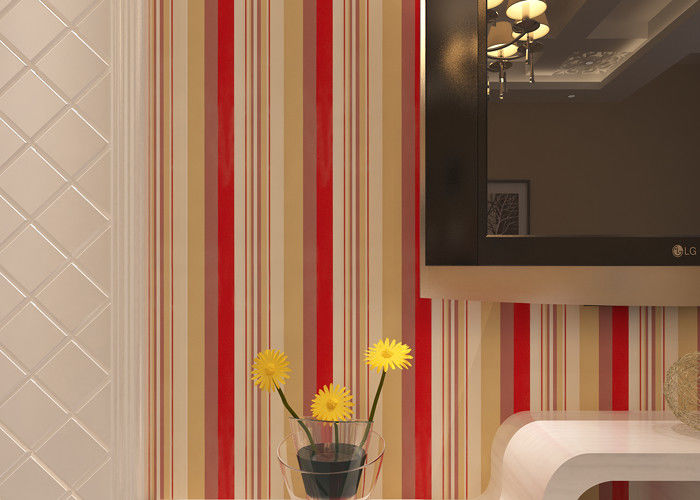 Washable Living Room Striped Wallpaper / Modern Embossed Wall Coverings , CE CSA Listed