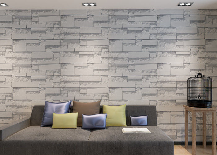 Modern Washable Vinyl Kitchen Wallpaper With White 3D Stone Pattern , 0.53*10m/ Roll