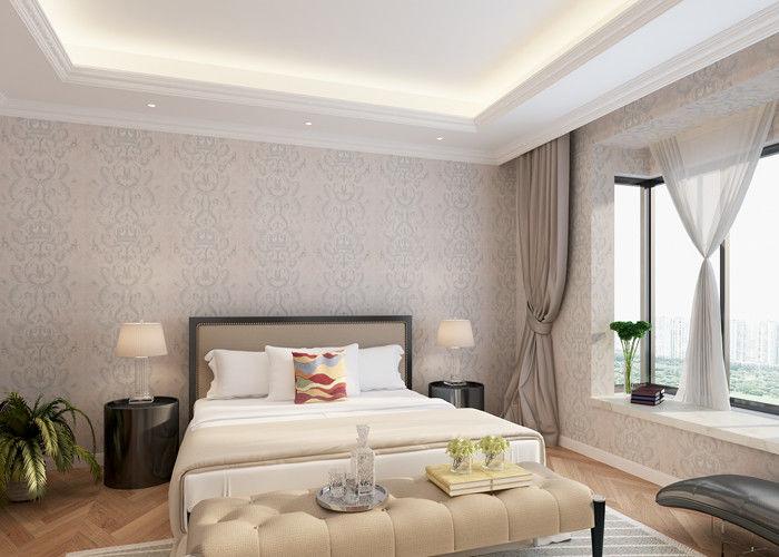 Schlafzimmer pvc landhausstil tapete mit symmetrischem blumenmuster - Schlafzimmer tapete ...