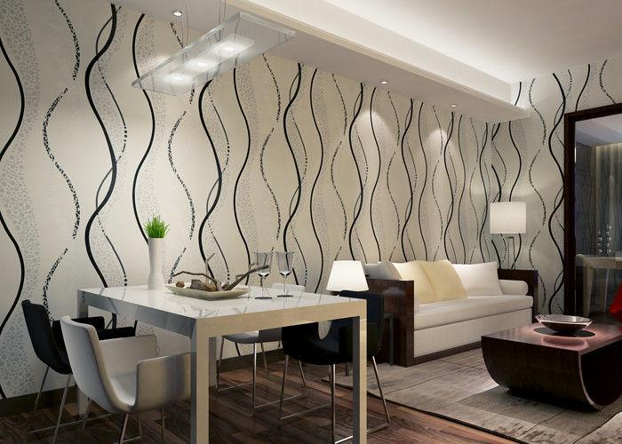 Moderne entfernbare Tapete Esszimmer PVCs mit schwarzem Wellen-Drucken